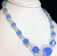 Art Deco Czech Periwinkle Blue and Crystal Glass Bead 16in Necklace Signed 1018m