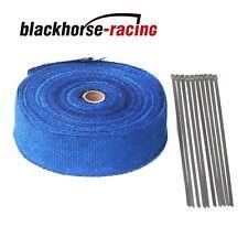 "Blue 2"" x 50FT (15M) Exhaust Header Fiberglass Heat Wrap Tape w/10 Steel Ties"