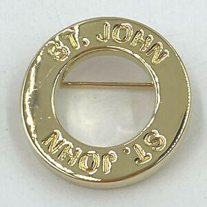St John Brooch Pin Gold Tone Metal Circle Ring Stamped Signed Round Fashion SM