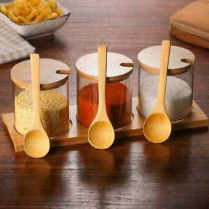 1 Set Seasoning Jars Glass Spice Cruet Container Pot Holder with Wooden Spoon UK