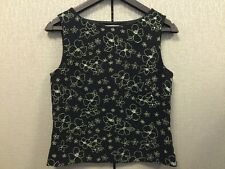 Sleeveless Side Zip Top Blouse in Black & Ivory Floral Sz 4