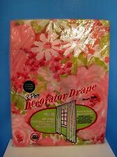 Vintage Maytex Mills Pink Floral 3 Piece Decorator Drape Plastic Curtains, Daisy