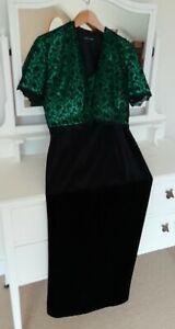 HOUSE OF FRASER Velvet Green Black Lace Maxi Evening Dress Suit, UK 16