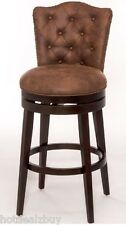 Bar Height Stool Swivel Leather Wood High Chair Kitchen Dining Furniture Luxury