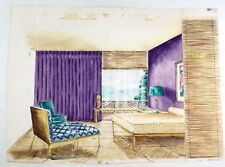 VTG Original Mid Century Interior Design Bedroom Watercolor Painting Unsigned