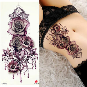 Fashion Purple Rose Temporary Fake Tattoo Women Body Painting Tatoo Sticker