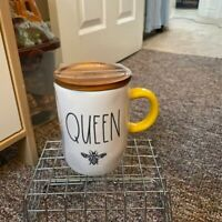 Rae Dunn QUEEN🐝Mug with Wooden Lid and Yellow Handle 🐝