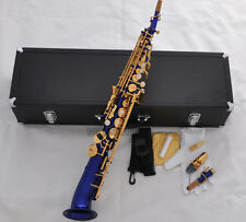 Professional Blue Soprano Saxello Bb saxophone Mercury sax High F# G Leathe Case