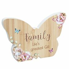 Butterfly Plaque / Sign Gift - Vintage Floral design - Wooden - Family