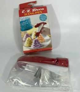 E-Z DECO ICING PEN Decorate Cakes & Cookies  2 BAGS COUPLERS & WRITING TIPS  NEW