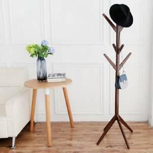 Wooden Coat Stand Rack Clothes Hanger Bags Hat Umbrella 8 Hooks Floor Standing