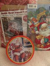 Double Woven Santa Raggedy Ann Tapestry Throw Paper Wall Hanging Coke Oval Tin