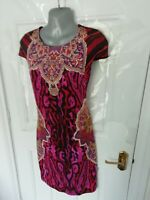 JUST CAVALLI Size 8 10 (M) Black Multi Animal Print Stretchy Dress Made in Italy
