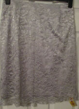 NEW LADIES PRETTY LACE SKIRT SILVER/GREY SIZE 14 From Changes by together