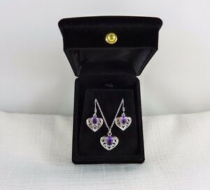 1.58 ct Natural African Amethyst Heart Sterling Silver Earrings & Necklace Set
