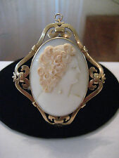 Fine 19th Century 14k Yellow Gold Strap Work Shell Cameo Pin Pendant