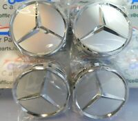 4x  Mercedes Silver Alloy Wheel Centre Hubs Caps 75mm with Chrome Star