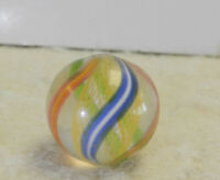#13144m Vintage German Handmade Yellow Latticino Swirl Marble .57 Inches