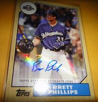 BRETT PHILLIPS, RC, AUTOGRAPHED 2017 TOPPS UPDATE #87A-BPH==MILWAUKEE BREWERS