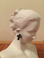 Rhinestone Cross Earrings Hanging Dangle Fashion Jewelry