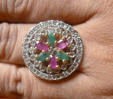 Gold Silver Plated Cubic Zirconia Indian Adjustable Weeding Finger Ring c
