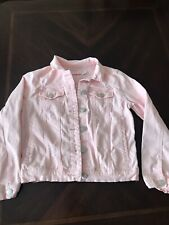 Girl Size 10 Light Pink Denim Style Cotton Jacket
