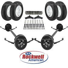 Tandem 3,500 lb Electric Brake Trailer Axle Kit w/Wheels & Tires - 7K - 95/80