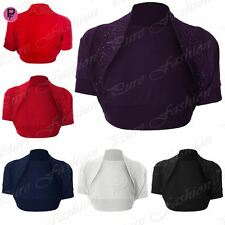 Womens Ladies Bolero Cropped Short Sleeve Open Beaded Sequin Shrug Top Plus Size
