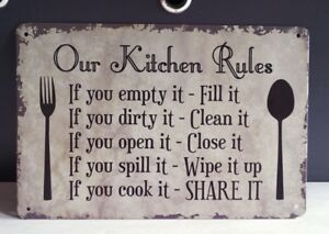 Retro Tin Signs Our Kitchen Rules Poster Metal Plate Wall Decor Hanging