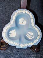 Vintage Wedgwood  Blue Jasperware Porcelain Trefoil Trinket Dish Mint 1950's EUC