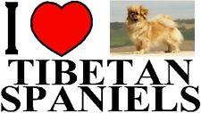 I LOVE TIBETAN SPANIELS Car Sticker By Starprint - Featuring the Tibetan Spaniel