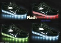 KIDS GIRLS TRAINERS FLASHING LED LUMINOUS LIGHTS USB CHARGER LACE UP SIZE NEW
