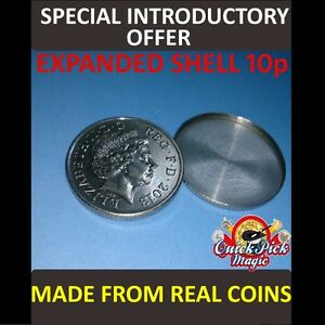 10P EXPANDED SHELL COIN / MADE FROM REAL COINS! CLOSE UP MAGIC TRICK!