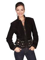 New Women's Scully Soft Boar Suede  Stud Western Biker Jacket Black