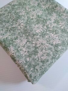 3 Yards 100% Cotton Fabric - Foust Textiles - Hope Chest Med Green/Ivory Flowers