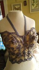 PreOwned Victorias Secret 36C bustier corset Purple tan embroidered lace boning