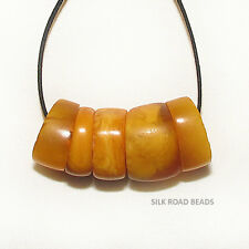 5 old antique natural amber beads yemen african trade #76d 11.7 克天然琥珀珠