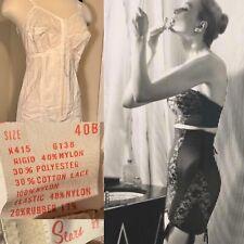 Vtg 60s SEARS Boned bra corset garters open bottom Rubber Lace 40 B XL 🔥💋