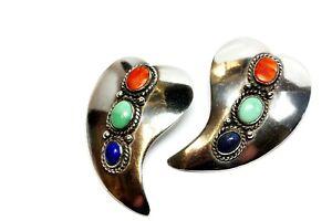 sterling silver A Secatero oval gemstone teardrop earrings 1x1.5 inch 20g rare