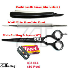 Barber Tools Set Of 4 Scissor & Razzor & Nailfile Professional Beauty Saloon Kit