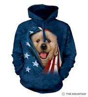 Patriotic Golden Pup Adult Hoodie Sweatshirt The Mountain