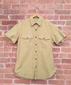 Wallace & Barnes Men's Short Sleeve Utility Shirt Size Small Fitted, Khaki