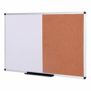 Magnetic Dry Erase Board and Cork Notice Board Combination 36 X 24 Inches Silver