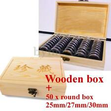 50Pcs Capsules 25/27/30mm Wooden Round Coins Holders Display Case Storage Box