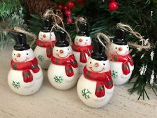 Set of 6 Small Ceramic Festive Snowman Christmas Tree Decorations Xmas Baubles