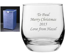 Personalised Engraved Whisky Whiskey Glass Usher Any Message Engraved