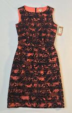 NWT CREMIEUX Black Flocked Lace Overlay Melon Lined Dress Size 2