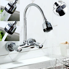 Kitchen Basin Wall Mounted Faucet Swivel Spout 2 Handle Sink Spray Mixer Tap US