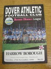 27/11/1990 dover Athletic V HARROW Borough [Premier INTER-LEAGUE CUP] (lieve CRE
