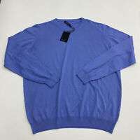 New Bugatchi Light Sweater Men's Size 2XL Long Sleeve Blue Knit Cotton Crew Neck